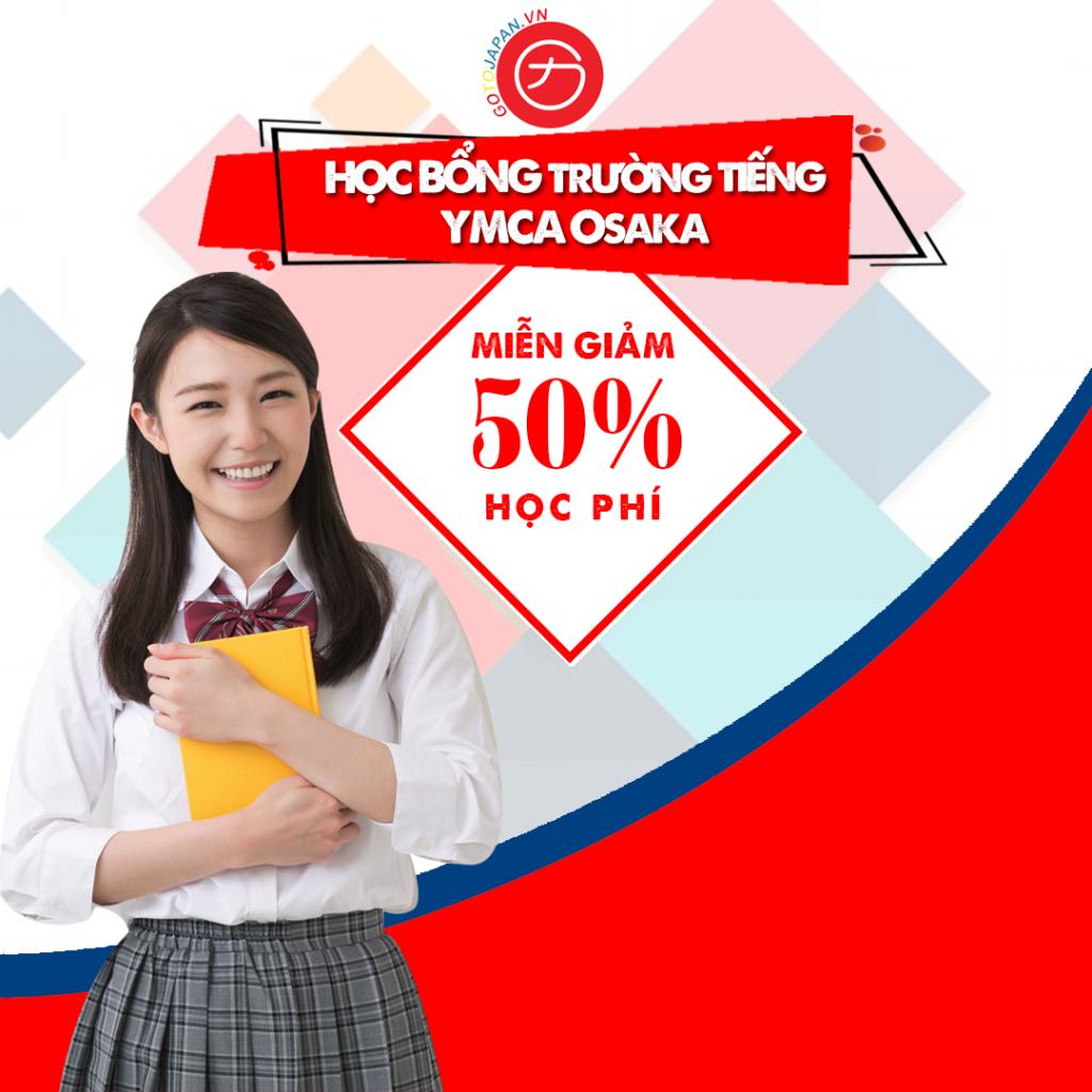 Học bổng trường Tiếng YMCA OSAKA tới 50%.